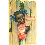 SALE HTF Antique Valentine Postcard--Pretty Girl--Black Americana