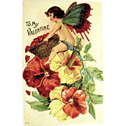 SALE HTF Beautiful Cherub w Butterfly Wings Valentine Postcard