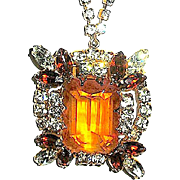SALE Gorgeous Vintage Large Emerald Cut Pendant Necklace