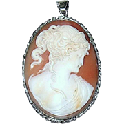SALE Rare Carved Shell Cameo Pendant—Cleopatra and Asp