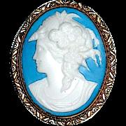 SALE Stunning Czech Glass Cameo Brooch — Goddess Flora
