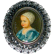 REDUCED Rare Victorian Baby Portrait Brooch in Cut Steel and 800 Silver Frame
