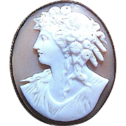 Beautiful Cocoa Brown and White Carved Shell Cameo Brooch--free insured shipping