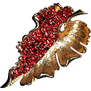 SALE Rich Goldtone and Garnet Rhinestone BSK Brooch