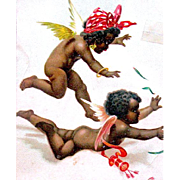 SALE Ex Rare IAP 1904 Adorable Flying Black Cupids Valentine Postcard