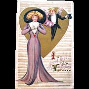 SALE Winsch Schmucker Valentine Postcard—Cupid in Formal Attire Admires Lady