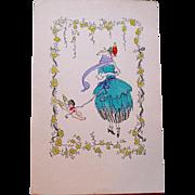 SALE Rare Mela Kohler Artist Signed Valentine Postcard--Wiener Werkstatte--Vienna