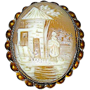 REDUCED Beautiful Rebecca At The Well Carved Natural Shell Cameo Brooch