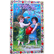 SALE Exceptional German GEL Valentine Postcard Series 210—Cupids Inflating Heart (1 of 2)