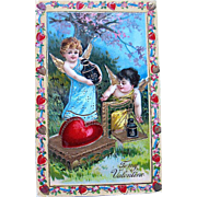 SALE Exceptional German GEL Valentine Postcard Series 210—Cupids Preparing Gifts (2 of 2)