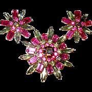 SALE Judy Lee Five Tier Rhinestone Brooch w Earrings—free shipping