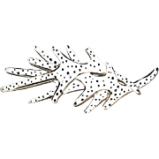 SALE Vintage Corocraft White Enamel Black Spotted Figural Coral Brooch