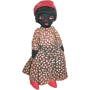 SALE Early 20th Century Black Cloth Doll, Embroidered Features, Curly Black Yarn Hair