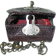 SOLD Tiny Vintage Faux Reptile Doll Purse