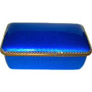SALE Gorgeous Vintage Blue Guilloche Enamel Box--PERFECT