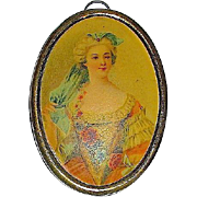 Antique Doll House Miniature Picture in Brass Frame