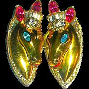 "SALE Stunning Bright Gold Sterling A/O Rhinestone,""Thoroughbreds"" Horses Coro Craft"