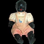 SALE German Black Bisque Doll, Bisque Arms & Legs, Cloth Body, Original Playsuit