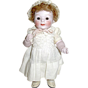 """Rare 8"""" All Bisque German Doll, Pale Bisque w Slight Pink Caste, Orig. Mohair Wig"""