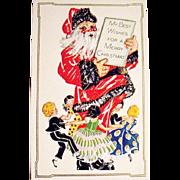Mint Condition Giant Santa Claus & Dancing Children Christmas Postcard