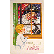 Large Santa Claus Face at Window & Young Child Christmas Postcard