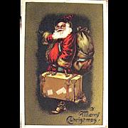 Santa Claus w Suitcase, Sack of Toys,Gold Background Christmas Postcard