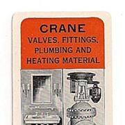 SALE Celluloid Crane Co. Advertising Pocket Calendar Chicago 1925