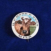 SALE H.P. Hood & Sons Milk Celluloid Pinback with Cow