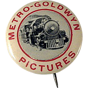 Metro-Goldwyn Pictures Celluloid Pinback Button with a Train