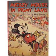 Mickey Mouse in Pigmy Land by Walt Disney Soft Cover Book 1936