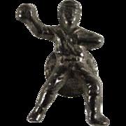 Cracker Jack 1920s Baseball Player Metal Collar Stud Premium