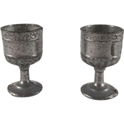 SALE Pair of Metal Goblets 'Scroll' Pattern Dollhouse Accessories