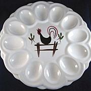 Ceramic Devil's Egg Dish with a Chicken Design