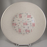 Vernon Kilns, Metlox 'Tickled Pink' Flat Soup Bowl MCM