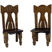 "SALE Star Novelty Works 1-1/4"" Pair of Chairs c1910 Dollhouse Furniture"