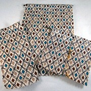 MCM Cotton Bathroom Shower Curtain and Window Curtains +l and 2 Rods Dollhouse Accessories