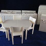 "SALE Marx 3/4"" Hard Plastic Kitchen 9 Pieces COMPLETE Dollhouse Furniture"