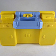 "SOLD Ideal 1-1/2"" Young Decorator Bathroom Sink Dollhouse Furniture"