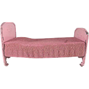 Tootsie Toy 1930s Bed with Flowers and Flocked Spread Pink Dollhouse Furniture