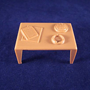 """Marx 1/2"""" Coffee Table with Magazines, an Ash Tray and a Pie Dollhouse Furniture"""