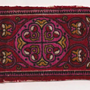 Dark Red Tobacco Flannel Floral Design Dollhouse Rug Accessory