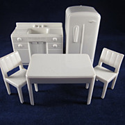 "Marx 1/2"" Hard Plastic 5 Piece Kitchen White Dollhouse Furniture"