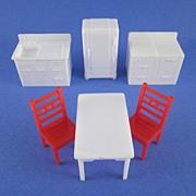 """SALE Allied 1/2"""" 6 Piece Hard Plastic Kitchen Dollhouse Furniture"""