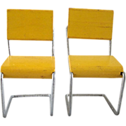 "Pair of Strombecker 3/4"" Wood & Wire Mid Century Modern Kitchen Chairs Dollhouse Furnitur"