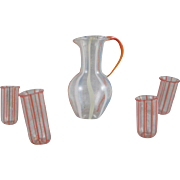 SALE Made in Germany  Striped Glass Pitcher and 4 Tumblers Dollhouse Accessory Miniatures