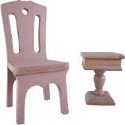 """SALE Strombecker 1"""" 1931 Bedroom Chair and Pedestal Night Stand Dollhouse Furniture"""