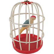 "Celluloid 1"" Bird Cage Made in Japan Dollhouse Accessory"