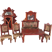 Made in Germany Red Stained  Dining Room 6 Pieces Dollhouse  Furniture