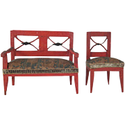 "Made in Saxony 3/4"" Red Painted, Upholstered Bench and Chair Dollhouse Furniture"