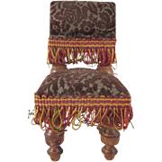 Large Scale Parlor Chair with Sculpted Velvet Seat and Back Dollhouse Furniture